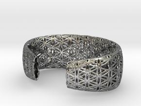 Flower Of Life Bracelet (Medium)  in Polished Silver
