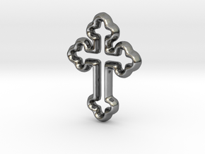 Cross Charm - 11mm in Fine Detail Polished Silver