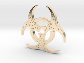 Biohazard Pendant in 14k Gold Plated Brass