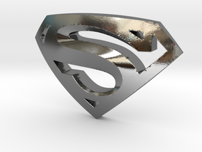 Superman Emblem in Polished Silver