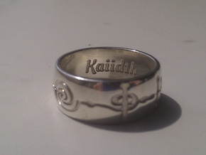 """Kaiidth"" Vulcan Script Ring - Engraved Style in Polished Silver: 7 / 54"