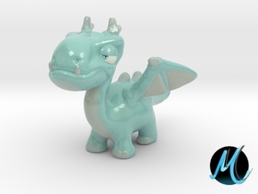 Dragon Sculpture - Snow Dragon in Glossy Full Color Sandstone