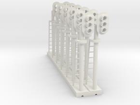 Block Signal 3 Light RH (Qty 12) - HO 87:1 Scale in White Natural Versatile Plastic