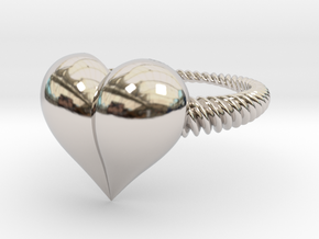 Size 6 Heart Ring in Rhodium Plated Brass