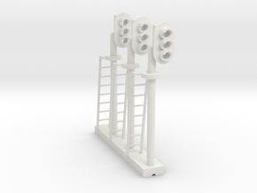 Block Signal 3 Light RH (Qty 3) - HO 87:1 Scale in White Natural Versatile Plastic
