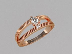 3 stone engagement ring in 14k Rose Gold Plated Brass