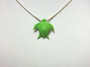 Origami Turtle  in Green Processed Versatile Plastic