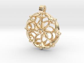 Vortex Mandala Pendant in 14k Gold Plated Brass