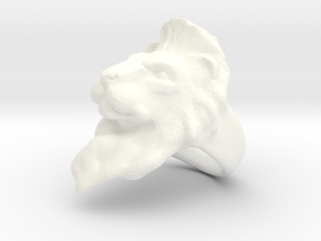 Lion Ring Size 7 in White Processed Versatile Plastic