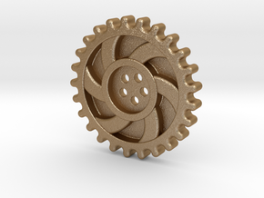 Steampunk Button in Matte Gold Steel