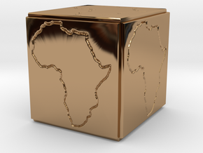 Paperweight Africa in Polished Brass