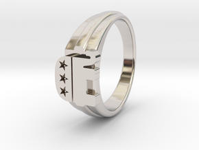 Ø0.699 inch/Ø17.45 mm Republican Ring in Rhodium Plated Brass