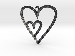 Heart Mother Child Pendant in Polished and Bronzed Black Steel