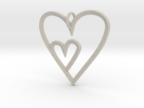 Heart Mother Child Pendant in Natural Sandstone