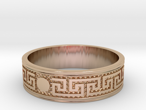Size 8 Meanders Ring in 14k Rose Gold Plated Brass