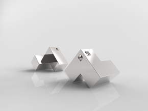 Cube Puzzle Pendant in Polished Silver
