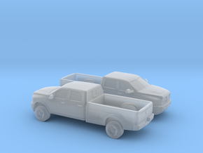 1/120 2X 2013 Dodge Ram Crew Long Bed in Smooth Fine Detail Plastic
