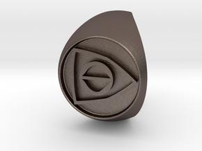 Custom Signet Ring 25 V2 in Polished Bronzed Silver Steel