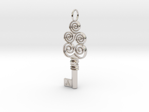 Friggjarlykill #4a  - Key of Frigg in Rhodium Plated Brass