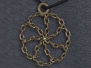 Chain Link Pendant in Polished Gold Steel