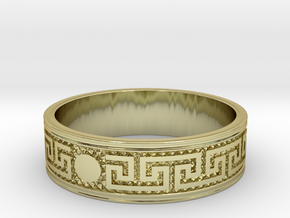 Size 12 Meanders Ring in 18k Gold Plated Brass