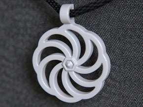 Wheel Of Eternity Pendant in White Strong & Flexible Polished