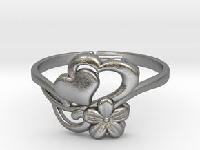 Flower Ring 1  in Natural Silver