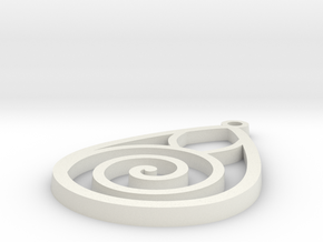 Spiral Earring in White Natural Versatile Plastic