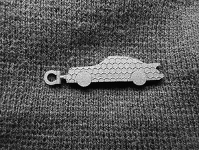 Porsche 911 (930) keychain (honeycomb pattern) in Polished Bronzed Silver Steel