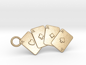 Aces Keychain in Polished Gold Steel