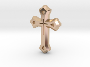 West Syriac Cross 50mm in 14k Rose Gold Plated Brass