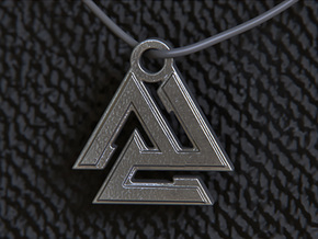 Valknut Pendant in Polished and Bronzed Black Steel