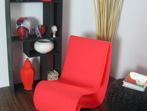 1:12 scale Amoeba modern miniature chair in Red Strong & Flexible Polished
