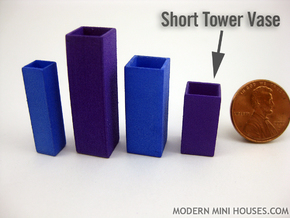 Tower Vase Short 1:12 scale in White Processed Versatile Plastic