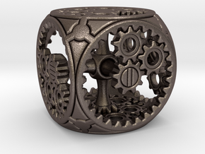 Gears Delirium I - D6 in Polished Bronzed Silver Steel
