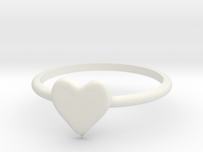 Heart-ring-solid-size-11 in White Natural Versatile Plastic