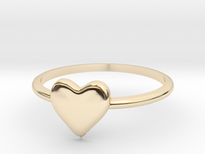 Heart-ring-solid-size-8 in 14K Yellow Gold