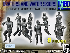 1-160 Boaters And Water Skiers Set in Smoothest Fine Detail Plastic