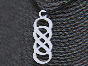 Double Infinity Pendant in White Strong & Flexible Polished