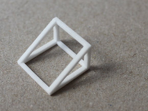 CUBE - ring or pendant - 2P in White Natural Versatile Plastic