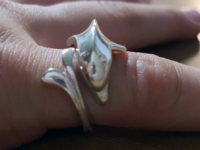 Pinkie finger dolphin ring in Polished Silver