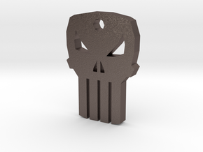 Punisher Keychain in Polished Bronzed Silver Steel