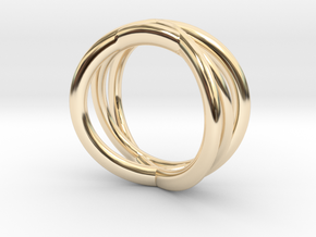 Three Orbits Entwined:Trinity UK Size O (US  7¼)  in 14K Yellow Gold