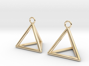 Pyramid triangle earrings in 14K Yellow Gold