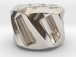 Twisted Hex Bead 2: Tritium in Rhodium Plated Brass