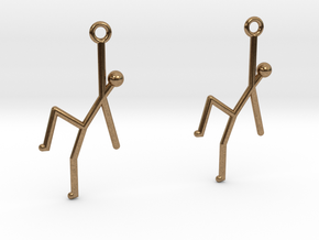 Stick Man Earrings in Natural Brass