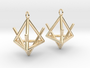 Pyramid triangle earrings type 2 in 14k Gold Plated Brass