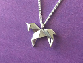 Origami Unicorn in Polished Silver