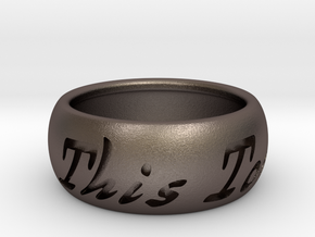 This Too Shall Pass ring size 9 in Polished Bronzed Silver Steel