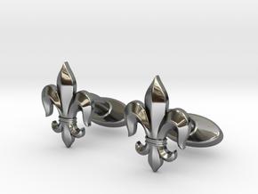 Fleur-de-lis Cufflinks in Fine Detail Polished Silver